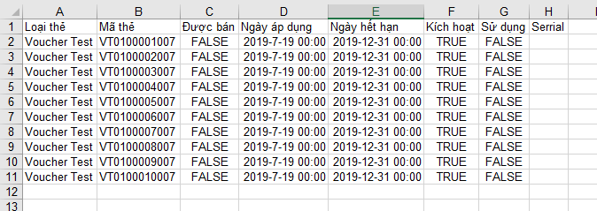 mở file excel xuất voucher